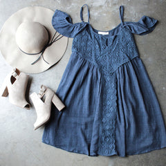 gauzy flutter sleeve boho dress - navy - shophearts - 1