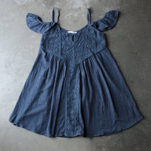 gauzy flutter sleeve boho dress - navy - shophearts - 2