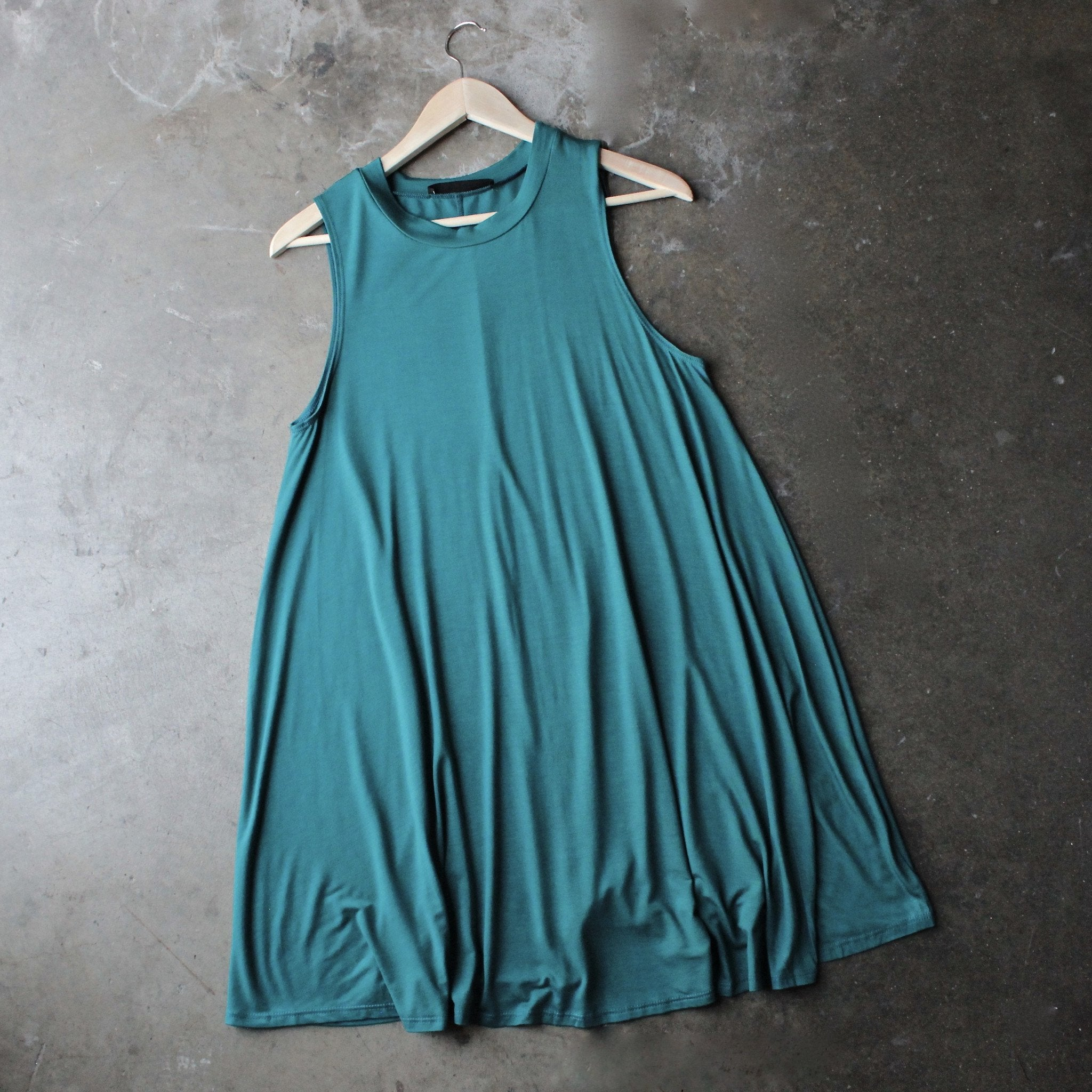 BSIC - sleeveless swing dress - teal - shophearts
