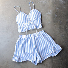 reverse - striped denim blue & white two piece set - shophearts - 1
