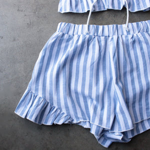 reverse - striped denim blue & white two piece set - shophearts - 2
