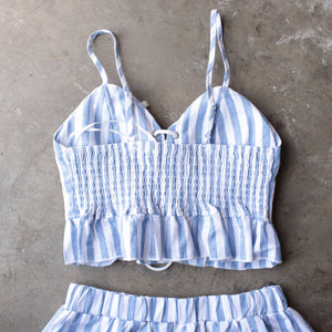 reverse - striped denim blue & white two piece set - shophearts - 4