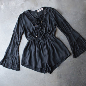 reverse - bell sleeves lace up front romper with lace in black - shophearts - 1
