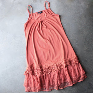 Ryu whimsical fairytale lace dress slip - burnt orange - shophearts