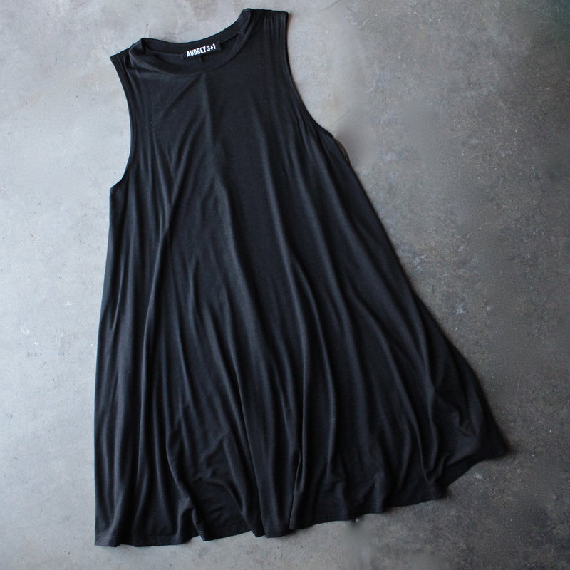 BSIC - sleeveless swingy tank dress - black - shophearts
