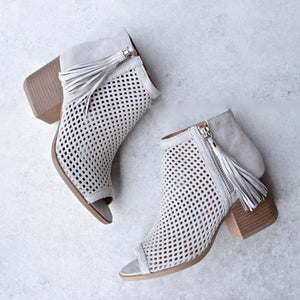Olivia perforated ankle booties - grey - shophearts - 1
