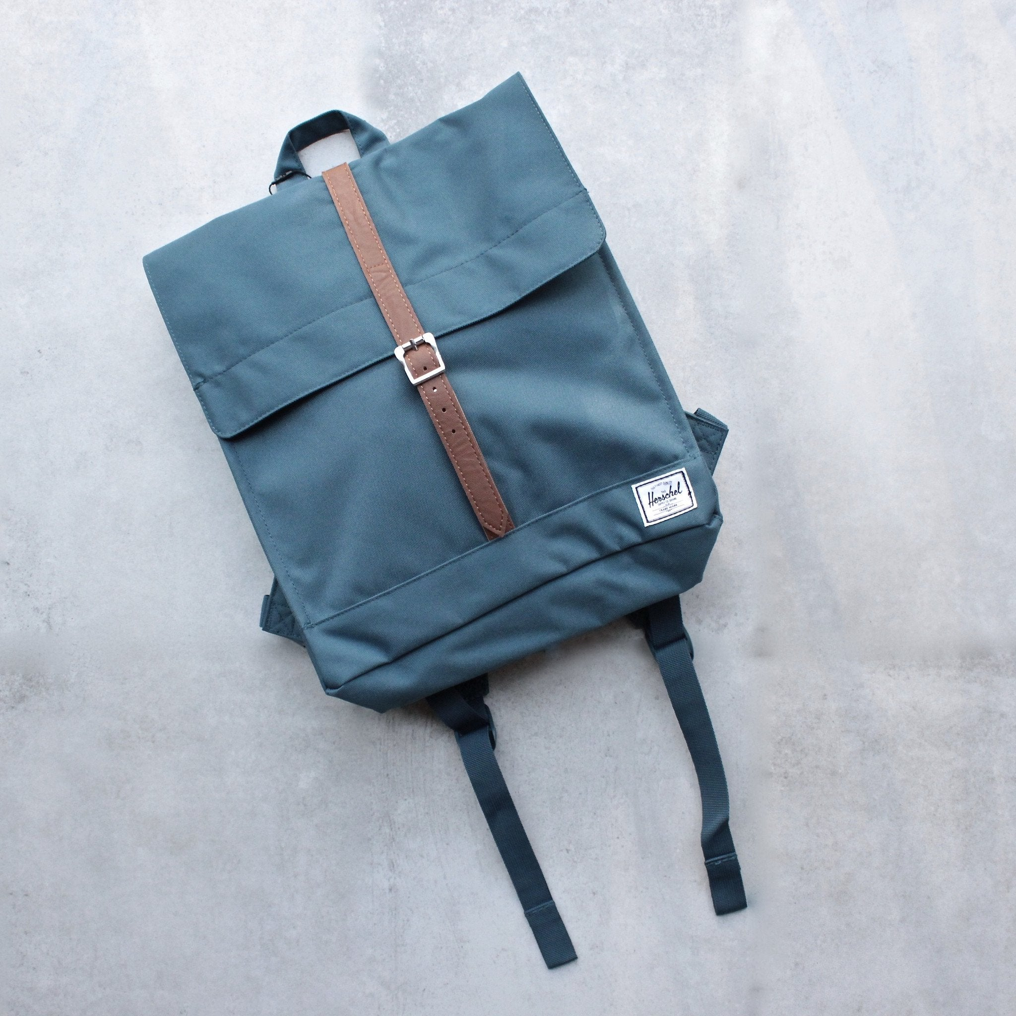 Herschel Supply - City Backpack | Mid-Volume - Indian Teal/Tan Synthetic Leather - shophearts - 1