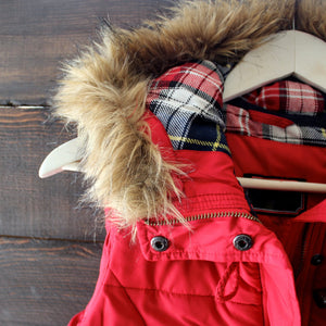 mountain slopes hooded red puffer vest - shophearts - 2