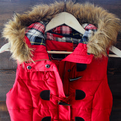 mountain slopes hooded red puffer vest - shophearts - 4