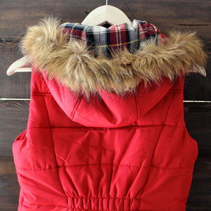 mountain slopes hooded red puffer vest - shophearts - 5