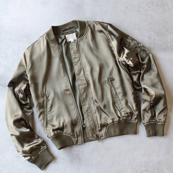 lightweight satin bomber jacket - olive - shophearts - 1