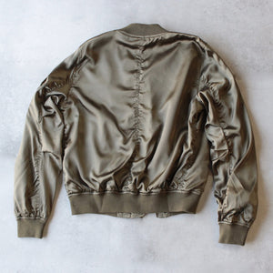 lightweight satin bomber jacket - olive - shophearts - 4