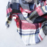 oversize plaid blanket scarf - red - shophearts - 4