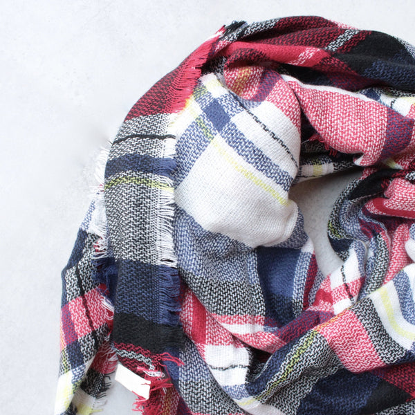oversize plaid blanket scarf - red - shophearts - 5