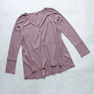 SH thermal long sleeve v neck top, dusty pink - shophearts