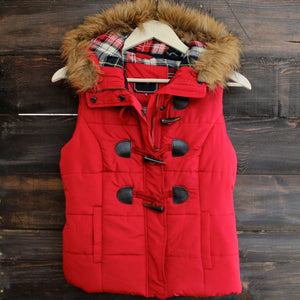 mountain slopes hooded red puffer vest - shophearts - 1
