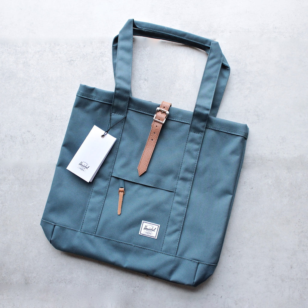 herschel supply co. - womens market tote -  Indian Teal/Tan Pebbled Leather - shophearts - 1