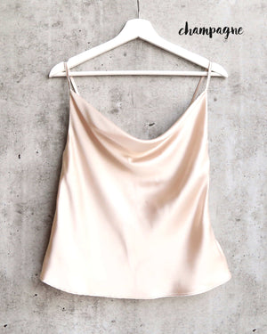 Cowl Neck Satin Cami Tank in More Colors