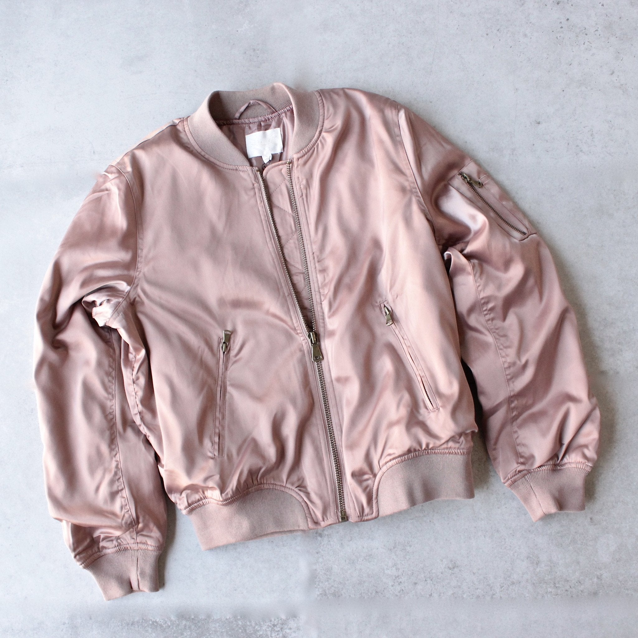 padded satin bomber jacket - mauve - shophearts - 1