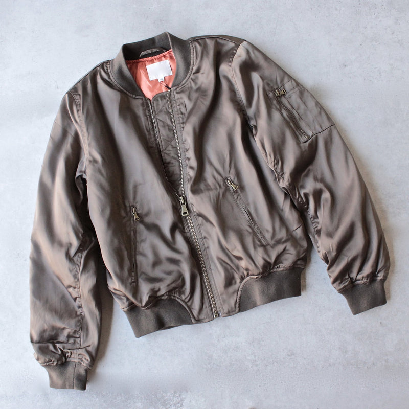 padded satin bomber jacket - olive - shophearts - 1