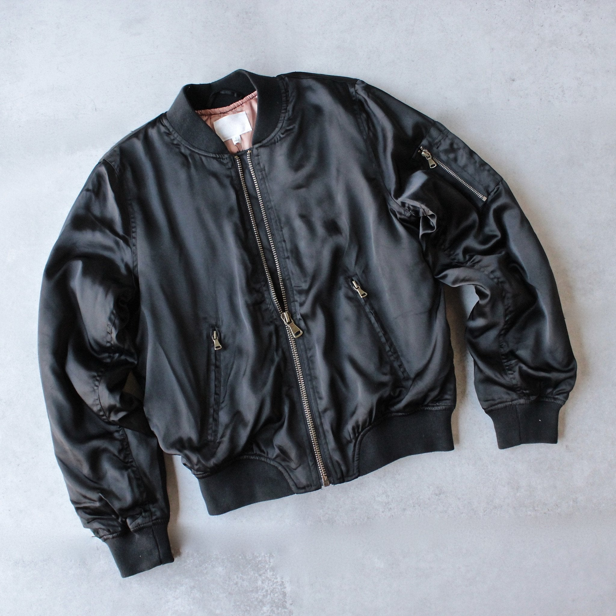 padded satin bomber jacket - black - shophearts - 1