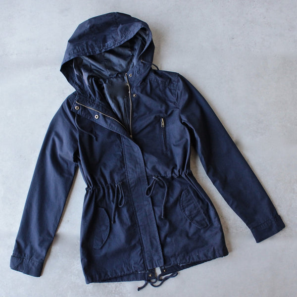 Womens hooded utility parka jacket with drawstring waist - navy - shophearts - 1