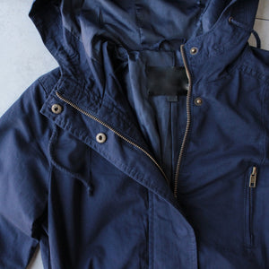 Womens hooded utility parka jacket with drawstring waist - navy - shophearts - 2