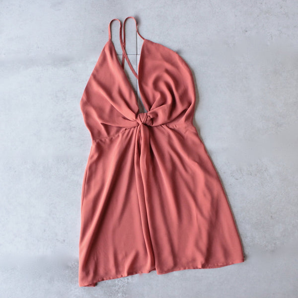 Leah knot chiffon dress - sienna orange - shophearts - 1