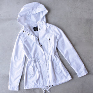 womens hooded utility parka jacket with drawstring waist - white - shophearts