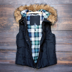 mountain slopes fur hooded black puffer vest - shophearts - 2