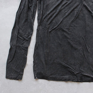 BSIC - vintage acid wash v neck long sleeve shirt in black