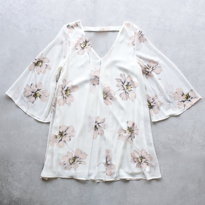 soft floral bell sleeve chiffon shift dress - shophearts