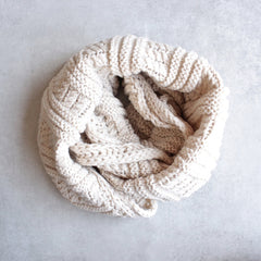 cozy knit infinity scarf oatmeal - shophearts - 1