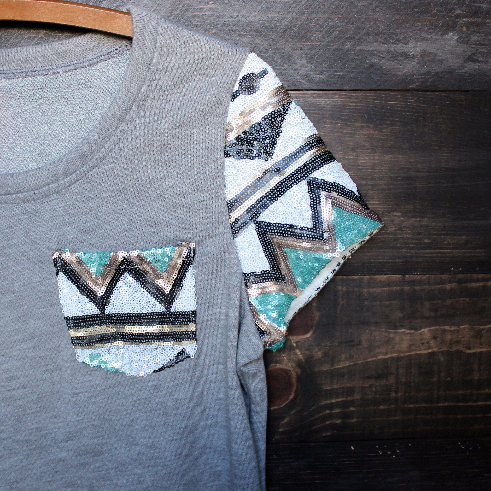 FINAL SALE - it girl aztec sequin pocket short sleeves french terry t shirt grey - shophearts - 3