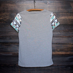 FINAL SALE - it girl aztec sequin pocket short sleeves french terry t shirt grey - shophearts - 2