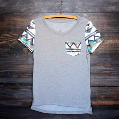 FINAL SALE - it girl aztec sequin pocket short sleeves french terry t shirt grey - shophearts - 1