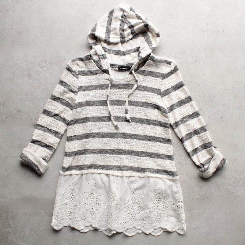 striped vintage lace hem womens hoodie sweater top - shophearts - 4