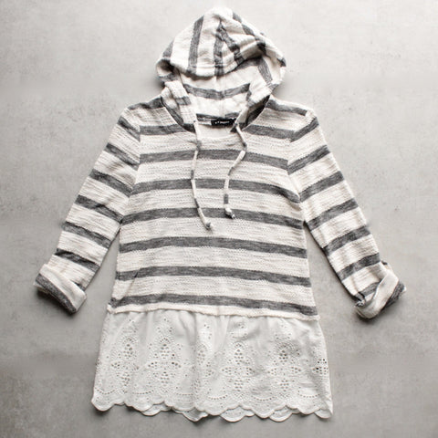 striped vintage lace hem womens hoodie sweater top - shophearts - 1