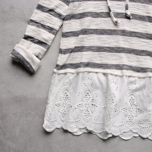 striped vintage lace hem womens hoodie sweater top - shophearts - 3