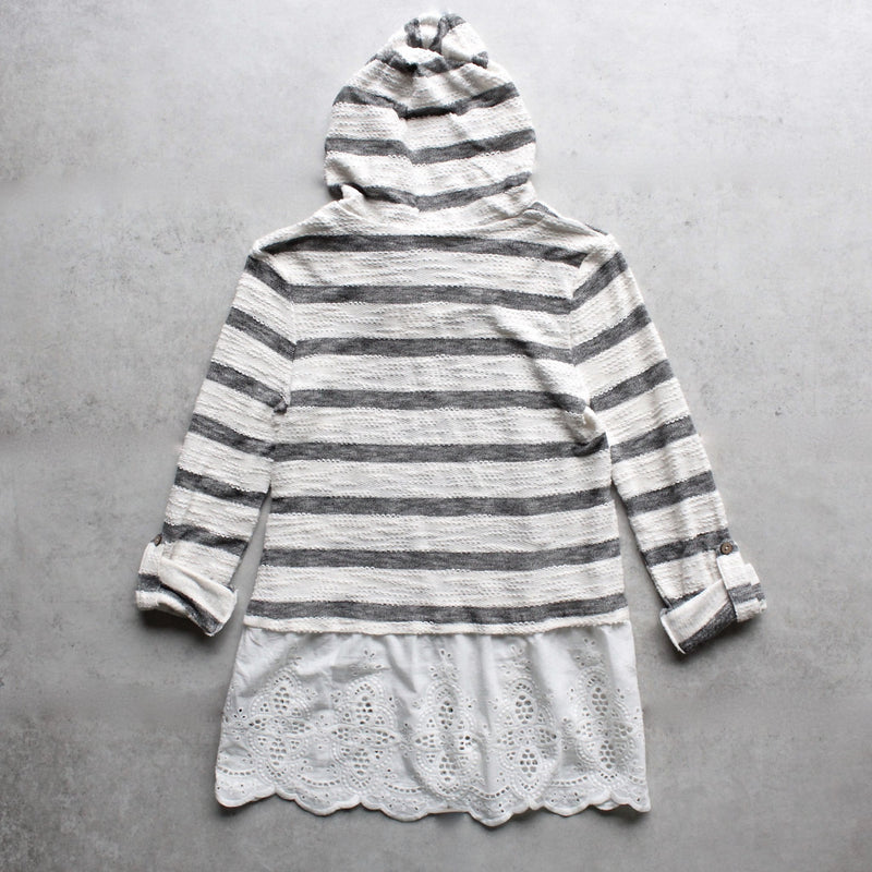 striped vintage lace hem womens hoodie sweater top - shophearts - 2