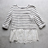 striped button-up back vintage lace hem womens sweater top - shophearts - 1