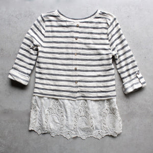 striped button-up back vintage lace hem womens sweater top - shophearts - 2