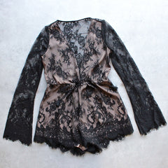 the jetset diaries - dulce deep plunge lace romper in black - shophearts - 1