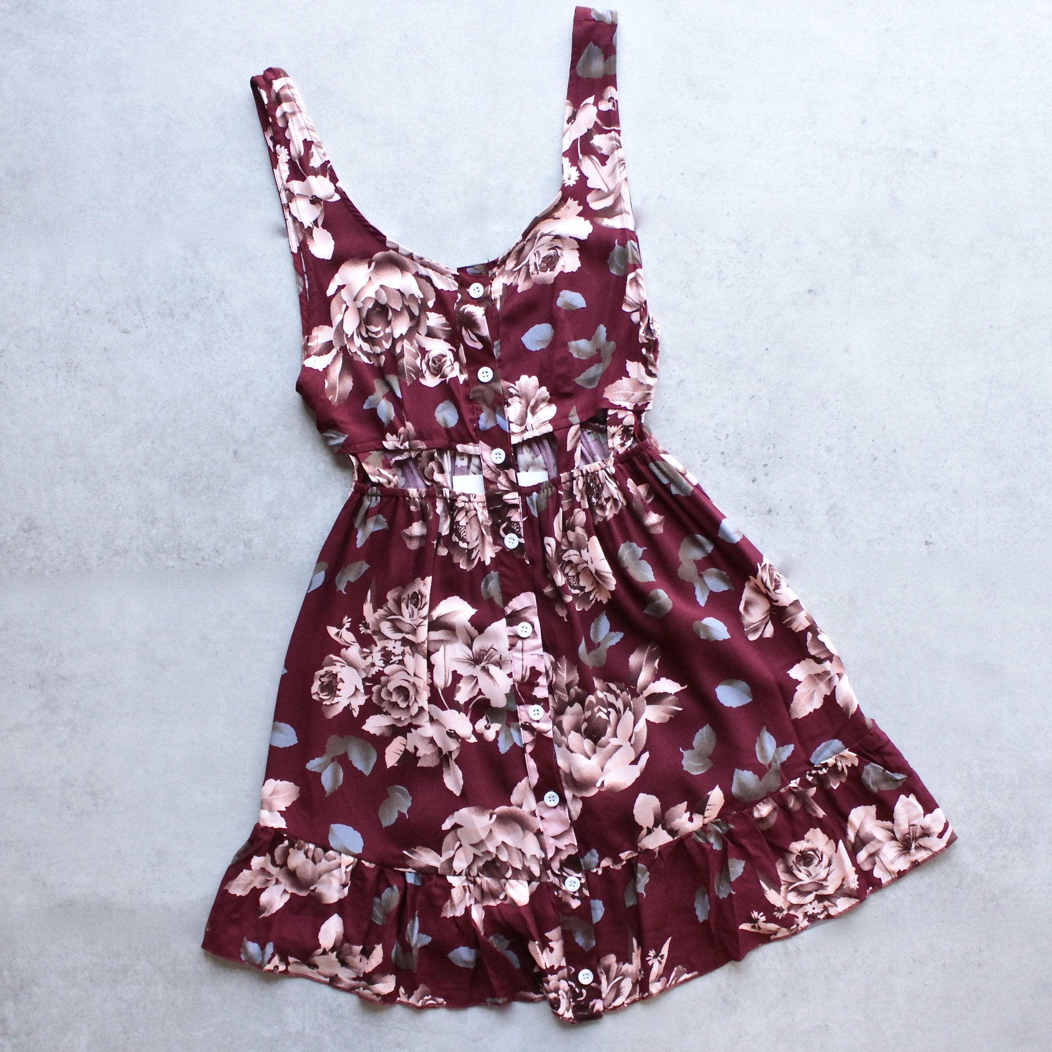 reverse - long weekend autumn floral dress in burgundy - shophearts