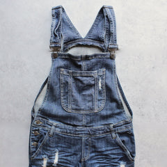 ripped denim medium wash overalls - shophearts - 1