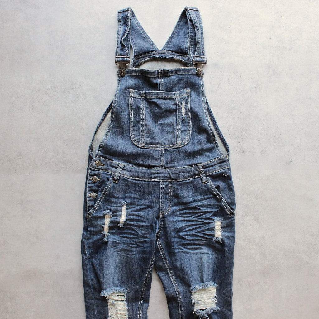ripped denim medium wash overalls - shophearts - 2