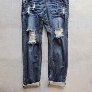 ripped denim medium wash overalls - shophearts - 3