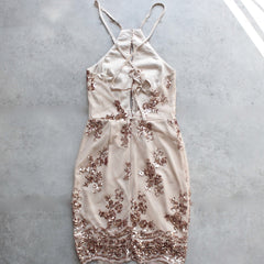 life of the party rose gold sequin bodycon dress - shophearts - 2