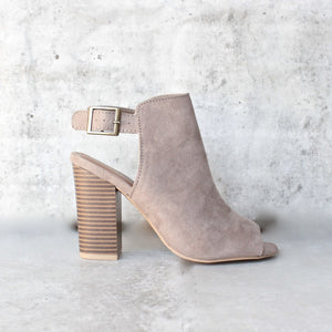 vegan suede sling back chunky peep toe heels - more colors - shophearts - 6