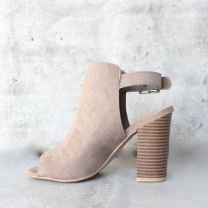vegan suede sling back chunky peep toe heels - more colors - shophearts - 4